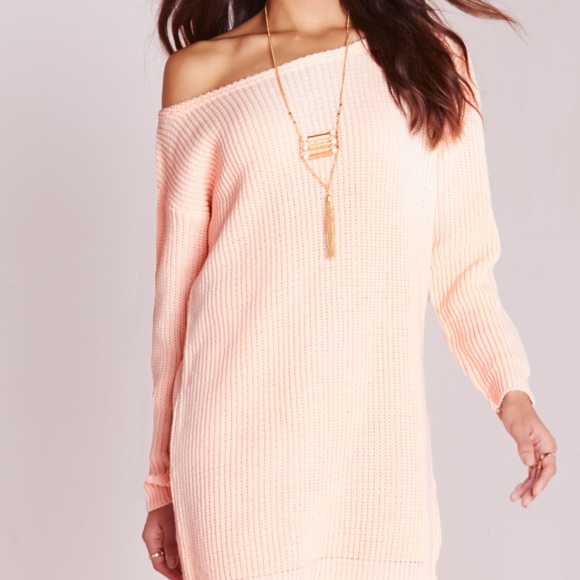 177a4d4c5585 Blush Off the Shoulder Oversized Sweater Dress